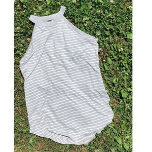 Yogalicious size S gray striped summer tank top